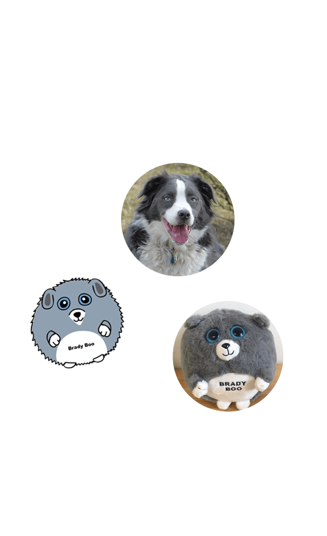 Grey custom stuffed animal of dog